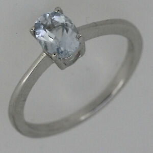 Genuine Natural Aquamarine Sterling Silver Solitaire Ring