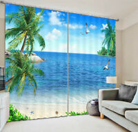 Sea And Coconut Trees 3D Curtain Blockout Photo Printing Curtains Drape Fabric