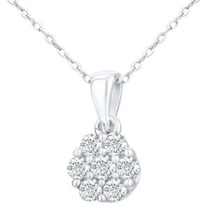 9ct White Gold 0.2ct Diamond Flower Cluster Pendant Women's Necklace by Elegano