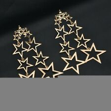 UK Seller Gold Silver String Of Stars Statement Long Drop Earrings Zara
