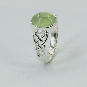 Size 5.5 6 7 7.5 8 8.5 9 - Green Celtic PREHNITE Ring - 925 STERLING SILVER #3