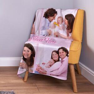 Personalised Pink Polka Dot [4 Photo] Custom Fleece Throw Blanket