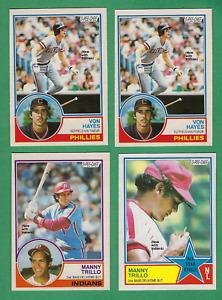 ( 4 ) 1983 O-PEE-CHEE # 73 Trillo, #174 Trillo, (2) #325 Hayes - Phillies