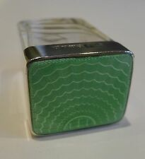 Small English Sterling Silver & Green Guilloche Enamel Pot