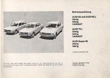 AUDI  60 / 75 / 90  F103 Betriebsanleitung 1970 Bedienungsanleitung Handbuch BA