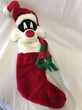 """Looney Tunes Sylvester the Cat Plush Christmas Stocking Warner Bros Brothers 22"""""""