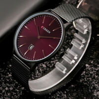 CURREN Quartz Watch Date Display Stainless Steel Band Ultra-Thin Men Wristwatch~