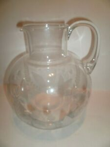 Vintage Tiffany & Co. Lily Of The Valley ~64 oz Etched Crystal Pitcher~Beautiful