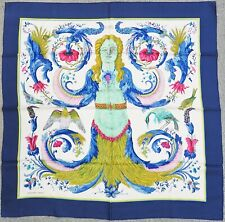 """Authentic HERMES """"Ceres"""" Blue 100% Silk Scarf #35524A"""