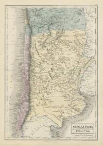 Chili La Plata Argentine Rep. Argentina Bolivia w/Litoral. SIDNEY HALL 1856 map
