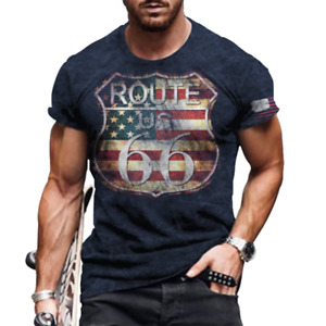 Mens T-Shirt US Route 66 Fashion Graphic Short Sleeve Vintage Fitness Tee Shirts