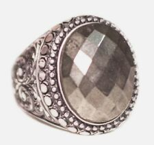 Sterling silver 925  Men ring, Pyrite natural  stone, Steel pen craft