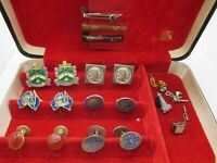Estate Cuff Links Lot Pins Clips Enamel Crest Cufflinks Enamel BX NT INCLDED L20