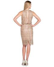 NWT Badgley Mischka HALTER MIDI Sequin copper Lace Blouson Cocktail Dress 2