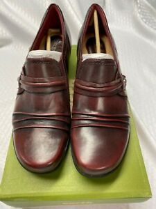 Earth Origins Maize Bordeaux Brush Off Leather Loafers 11W New With Box