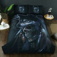 3D Skull Wolf Duvet Quilt Cover Set Twin Full Queen King Gothic Bedding Set