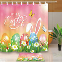 """Easter Theme With Bunny and Egg Bathroom ShowerCurtainSet Fabric&12Hooks71"""""""
