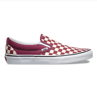 Vans Classic Slip On (Checkerboard) Dry Rose White Skate Shoes Mens Size 8.5