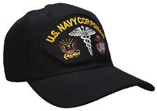 Corpsman Hat US Navy USMC Marine Corps Black Ball Cap 100% Cotton Structured