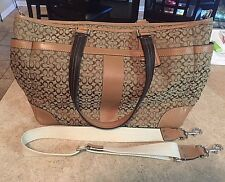 Coach Khaki Tan Signature Large Tote Handbag Purse Diaper Bag Purse F77156