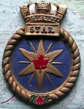HMCS Star: Canadá Navy ship Metal Tampion Placa Crest