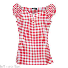 US POLKA DOT TOP RETRO VINTAGE 50s 60s ROCKABILLY STYLE Peasant PINUP Shirt