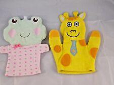 """Frog & Giraffe Bath Mitt Puppet Lot 8"""""""