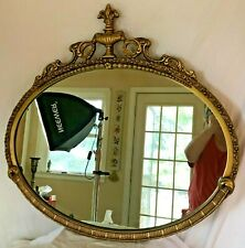 Vintage Gold Painted Wood Framed Oval Mirror