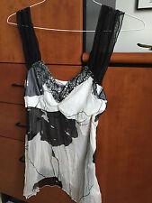 NWOT blouse top tank cami black floral mesh sheer applique size Small Hale Paris