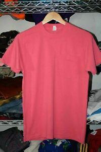 Single Stitch Selvedge vtg Pink Blank Pocket t shirt Men's Small 100% Cotton USA