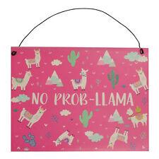 No Prob-llama Pink Metal Hanging Llama Sign Gift Idea Fans of Llamas