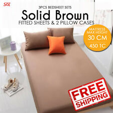 [READY STOCK]3 Pcs Solid Brown Queen Bedsheet Set(1 Fitted Sheet+2 Pillow)