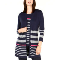 Charter Club Womens Striped Open Front Cardigan Sweater Berry Ball NWT