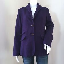 J Crew Women's Hacking Jacket Size 12 Tall Royal Purple Herringbone Wool 51676