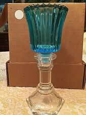 1 Homco Home Interiors Blue Votive Cup And One Clear Pedestal,Thick