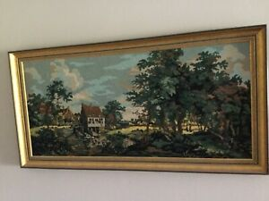 """Beautiful! Large Framed Vintage Completed Needlepoint Canvas Art Tapestry 47x24"""""""