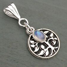 Rainbow Moonstone Tree Of Life Silver plated Pendant Pagan Wicca Reiki Chakra