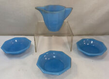 Vtg Antique Agate Blue Berry Bowls Creamer Pitcher Child's Milk Glass Dishes