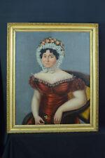 Tableau ancien Portrait empire Jeune Femme Coiffe Costume Coiffe Robe hst XIXème