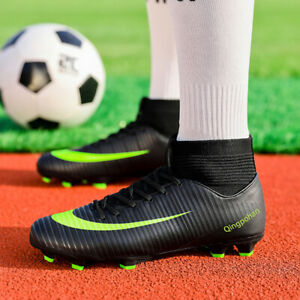 Men's Cleats TF Long Studs Non-Slip High Top Athletic Training AG Soccer Shoes