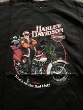 Vtg 2007 Harley Davidson Christmas Who's On The Bad List? Santa Mens L/XL