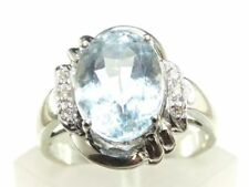 Unbranded Natural Aquamarine Solitaire with Accents Fine Rings