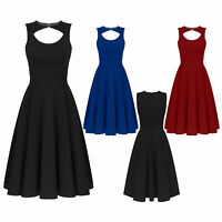 Women Formal Keyhole Front Prom Evening Party Ball Gown Wedding Dress Vintage