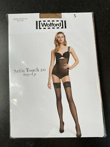 WOLFORD SATIN TOUCH 20 STAY UP HOLD UPS £32 GOBI S SMALL BRAND NEW HOISERY