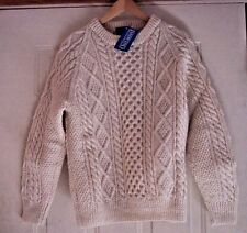 Land's End 100% Wool Aran Ireland Cable Knit Crew Neck Sweater Med NWT Signed