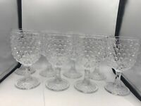"8 Piece Set Of Vintage Thousand Eye Goblets 6 1/2"" Tall"