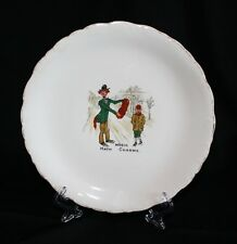 """ANTIQUE RARE COLLECTIBLE PLATE CLOWN W/ACCORDIAN """"MUSIC HATH CHARMS"""""""