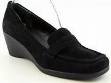 Easy Spirit Armor wedge loafer moccasin black suede leather sz 10 NARROW NEW