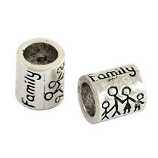 10 pcs Tibetan Family Alloy Beads Antique Silver 9x8mm,Hole:5.5mm fit european