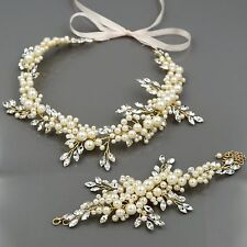 Crystal Pearl Headband Headpiece Tiara Bridal Wedding Accessory Bracelet Set 10G